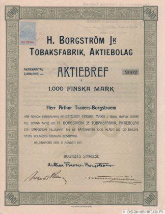 G.W. Sohlberg Osakeyhtiö Aktiebolaget H. Borgström Jr Tobaksfabrik  Aktiebolag 4fe7868318