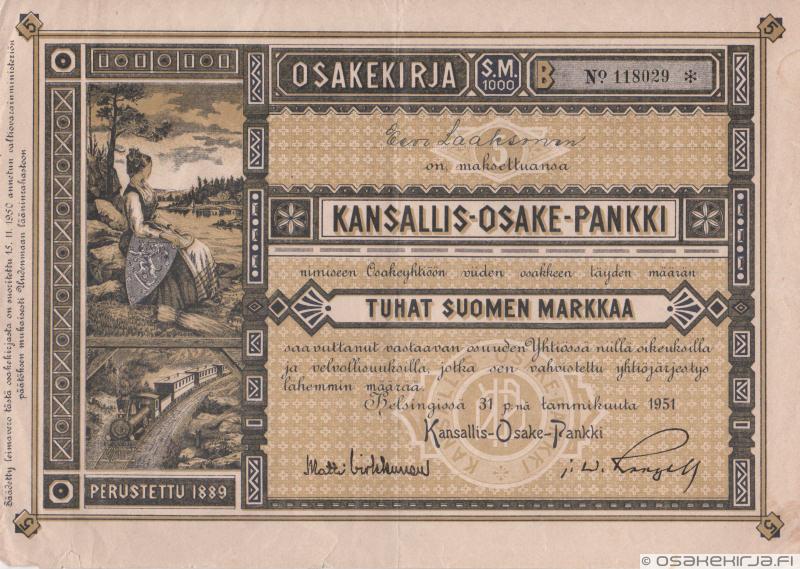 Kansallis-Osake-Pankki - Scripophily.fi