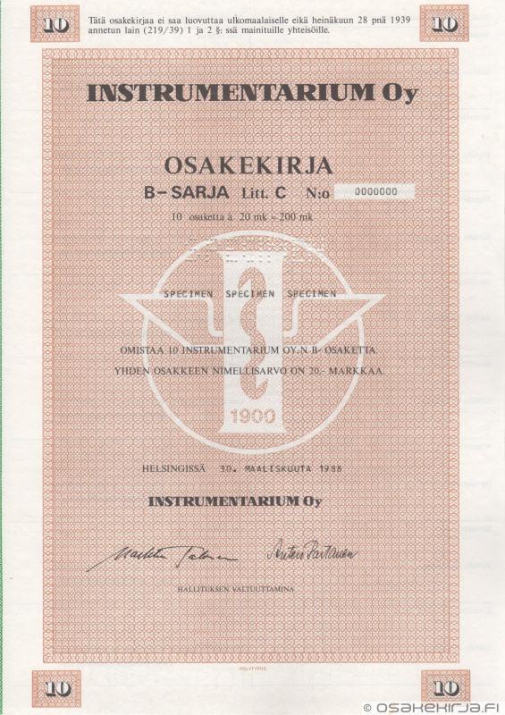 Instrumentarium Oy - Scripophily.fi